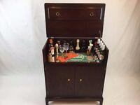 Stag Minstrel Cocktail Bar - Mahogany Drinks Cabinet