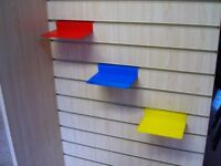 75 coloured perspex acrylic slatwall shelves 15x10cm - 3 colours