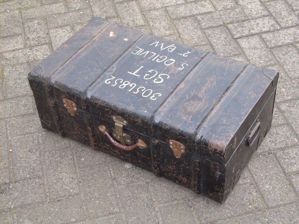 WW2 Military Metal Trunk from Calcutta - Black Watch / Chindits