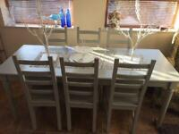 Solid Wood, Shabby Chic Dining Table & 6 Chairs