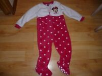 Minnie Mouse fleece (v soft) sleepsuit aged 2-3 years