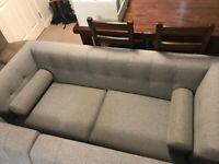 Dwell Lyon 3 seater sofa grey fabric - like brand new
