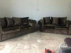 Brown crushed velvet Harvey's 3&2 seater sofas, couches, furniture 🚛🚚