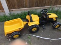 JCB Tractor Pedal Ride-On With Trailer
