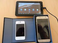 "2 X PHONES AND A 7"" TABLET (PLEASE READ INFO IN FULL).. SELLING FOR SPARES OR REPAIR"