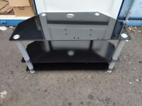 Black Glass TV Stand / Table: 3 Shelves / 100 x 56 x 42 cm approx