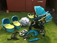 Gorgeous icandy double pram sweet pea with massive accessories bundle