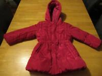 M&S Red padded girls age 3-4 coat