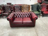 Superb Oxblood leather chesterfield 2 seater sofa Uk delivery
