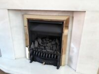 White marble fire surround and base