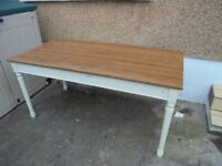 Free dining / Kitchen table 160 cm length Cream and Wood Colour