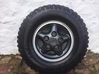 Land Rover defender alloys fitted with Kingpin mudtracker tyres