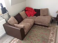 Light Brown Leather L-Shaped Corner Sofa with Fabric Cushions