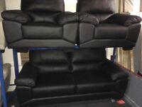 New/Ex Display ScS Vixen Black Leather 3 + 1 + 1 Seater Sofas