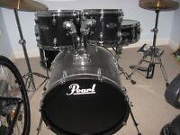 pearl black drum set as new