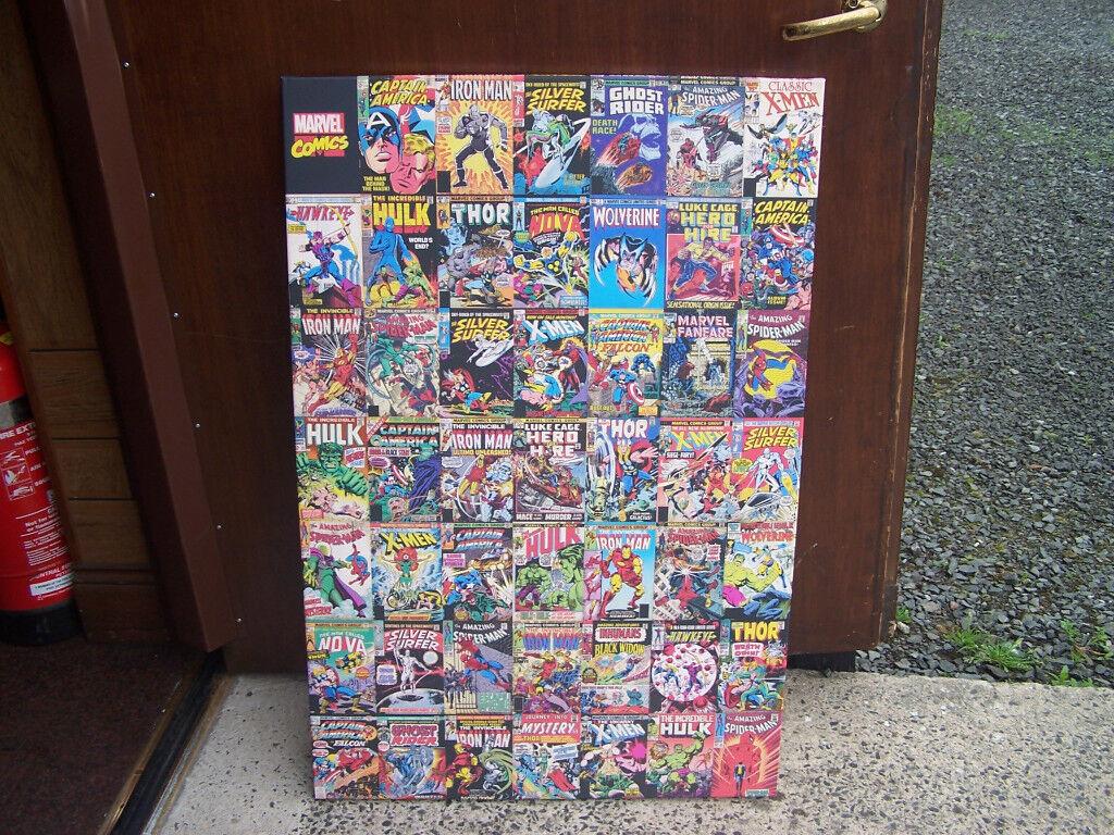 Marvel Comics Large canvas showing comic covers Captain America, Iron Man, Hulk etc