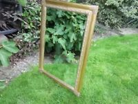 "LARGE 43"" x 31"" ORNATE GOLD FRAMED MIRROR BEVELLED GLASS LOUNGE DINING ROOM BEDROOM"