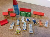Wooden Houses and People for Train Set (Brio)