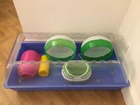 Small animal cage, carrier, house, exercise wheels x2, tube