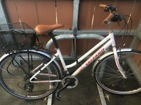 Good condition 21 gear bicycle with helmet, basket, chain and detachable lights included