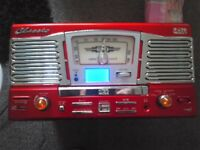 RETRO TURNTABLE WITH CD MP3 RADIO player - RED