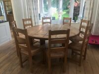 Reclaimed Oak Wood Dining Table and Chairs - Custom Made