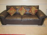 LEATHER 3-SEATER SOFA, CHOCOLATE BROWN COLOUR, VERY GOOD CONDITION, NO SCRATCHES , TWO AVAILABLE