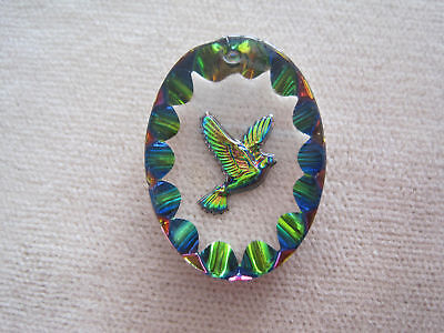 12 Vintage IRIS Finish Peace Dove OLD W German Glass Intaglio Pendants MUST SEE