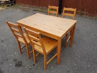 Solid Pine Table & 4 Chairs FREE DELIVERY 359