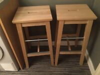 2 pine ikea stools can be painted , bought 6 months ago for £25 each selling both for £30
