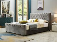 Milana King Size Ottoman Smooth Velvet Bed - Grey