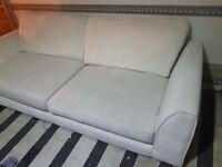 Preloved Excellent condition 3 seater fabric Sofa , cream colour , needs to go asap