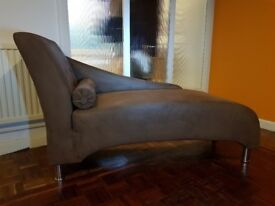 "Chaise Lounge, Brown suede effect, 56"" long, 23"" deep, 33"" to highest point in good condition"