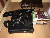 XBOX 360 S Slim 4 GB With Kinect + 2 Controllers + 8 Games & Wires