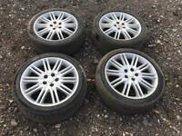 "Set of 4 18"" Jaguar Alloy Wheels with tyres"