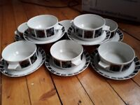 8 x soup bowls and saucers - mid century design