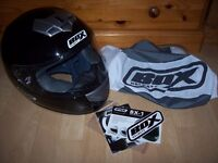 Box BX-1 Crash Helmet Full Face Black Motorbike Small