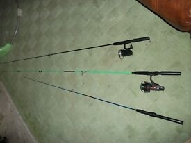3 kiddies spinning rods and two reels