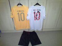 "2 X "" MESSI 10 "" sports tops, 1 orange, 1 white, + MESSI black shorts, 13 - 15 yrs"