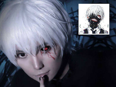 Tokyo Ghoul Kaneki Ken Short Silver White Cosplay Straight hair Wig Costume - White Short Wig