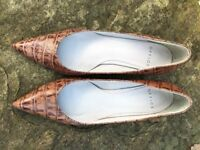 Ladies Office tan leather court shoes - worn once, excellent condition