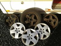 16'' 5 SPOKE 5 STUD STEEL RIMS WITH TRIMS £40
