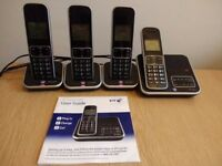 BT Inspire 1500 Cordless Phone with Answer Machine with 3 additional handsets (quad)