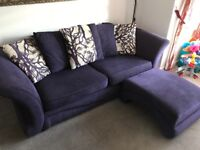 Purple Willow DFS Sofa, sofa bed, footstool and accent chair