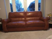 3/4 seater leather sofa and footstool