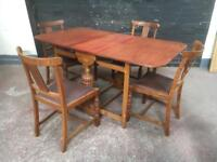 Ideal shabby chic project oak drop leaf table and four matching chairs