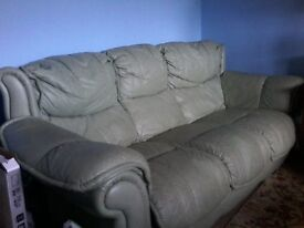 3 seater and 1 seater green leather,£50