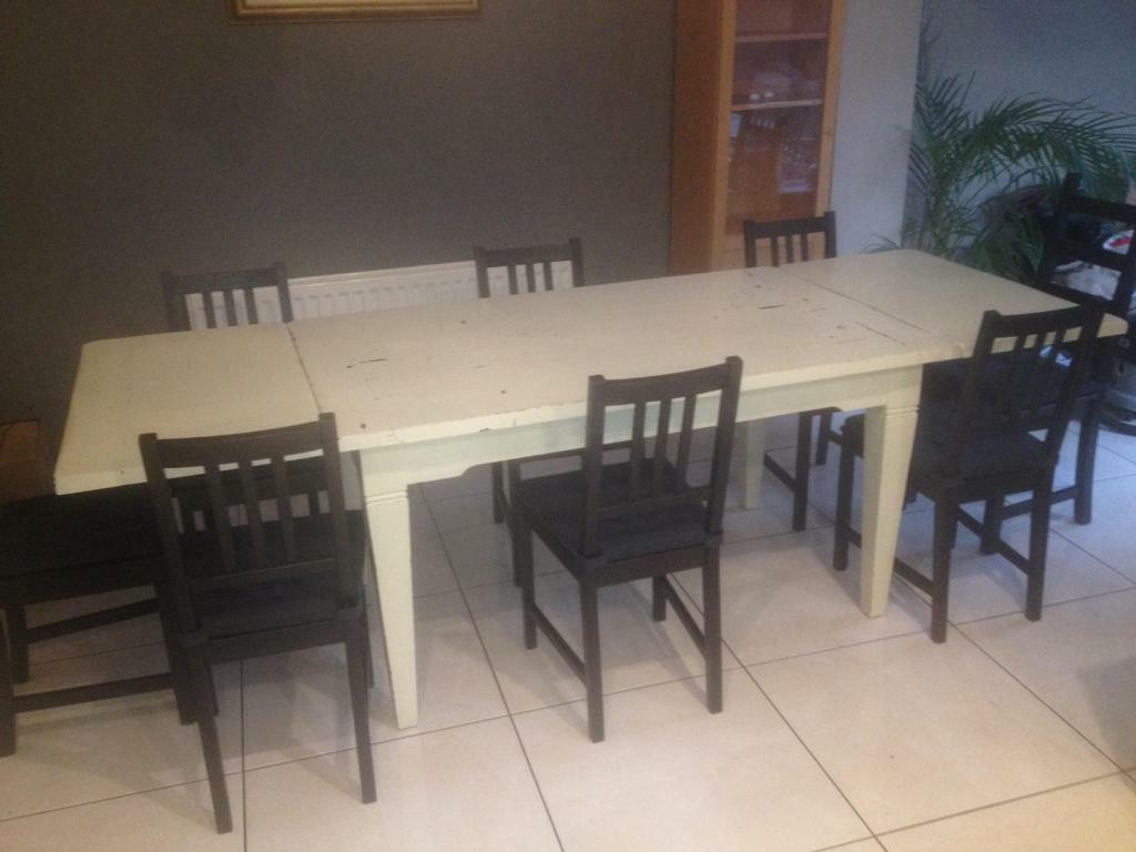 Solid Oak Dining Table Hand Painted In French Cream Distressed - Cream distressed dining table