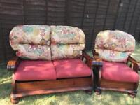 2 seater +1 chair with cushions sold wood mahogany sofa