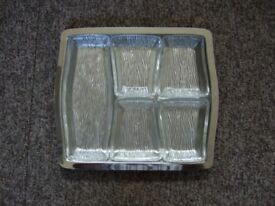 Crystal Party Dishes and Stainless Steel Tray. 1 Large & Four Small Dishes. Made by Viners.